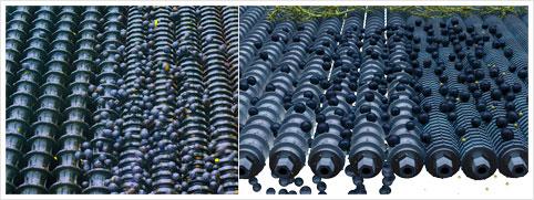 Proceso de la desgranadora de uva