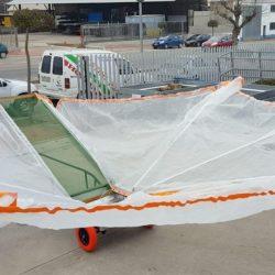 carretilla con paraguas 6,8 m desplegada